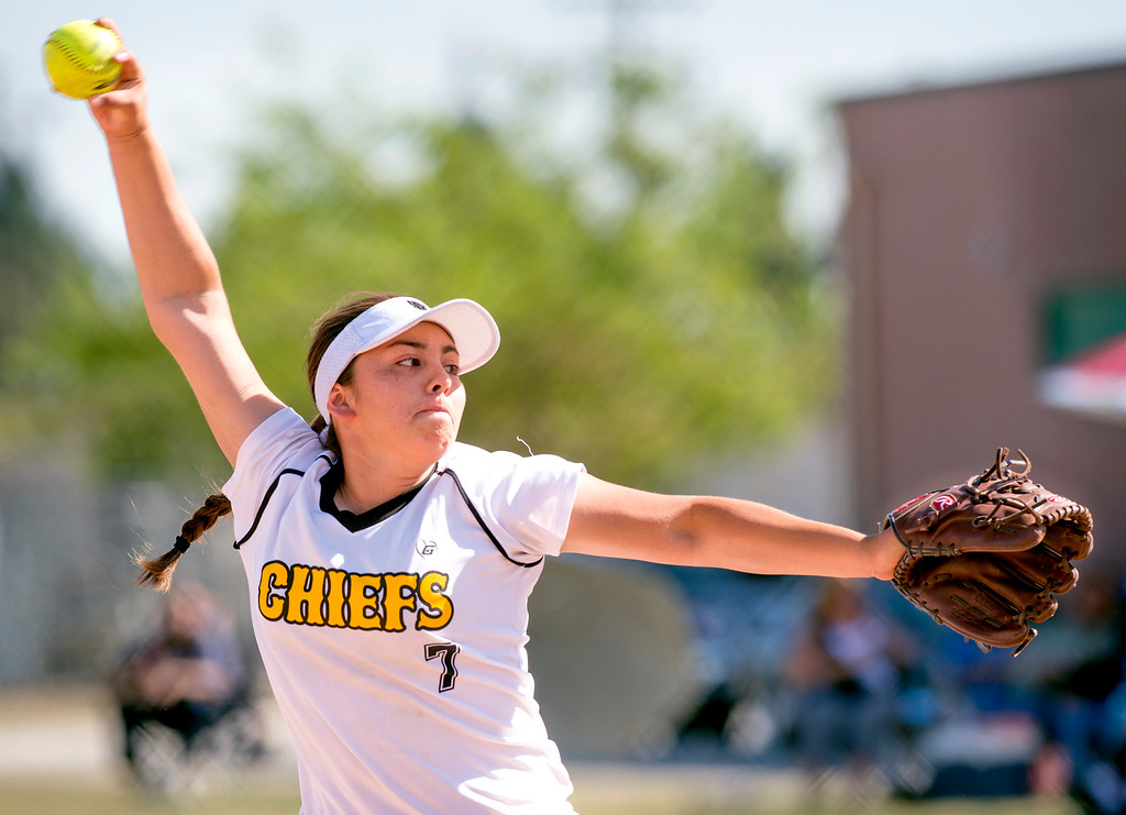 . Santa Fe High relief pitcher Alexandria Andrade vs California High at the Santa Fe Springs campus field May 13, 2014.   (Staff photo by Leo Jarzomb/Whittier Daily News)