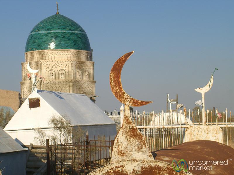 Crescent Moons on Tombstones at Mizdakhan Cemetery- Nukus, Uzbekistan