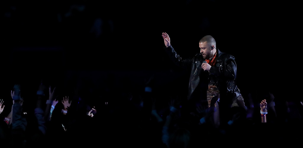 . Justin Timberlake performs during halftime of the NFL Super Bowl 52 football game between the Philadelphia Eagles and the New England Patriots Sunday, Feb. 4, 2018, in Minneapolis. (AP Photo/Jeff Roberson)