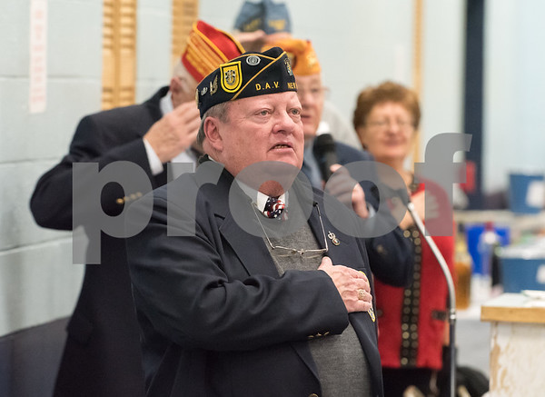 12/07/17 Wesley Bunnell | Staff The VFW of New Britain held their annual officer installation and award ceremony on Thursday evening. Newly sworn in VFW President Tom Higgins.