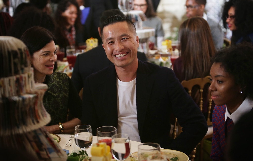. Fashion designer Phillip Lim attends a session of a Fashion Education Workshop, hosted by first lady Michelle Obama, in the East Room of the White House October 8, 2014 in Washington, DC. The workshop was to connect students with leading fashion professionals to show what to take to succeed in the fashion industry.  (Photo by Alex Wong/Getty Images)