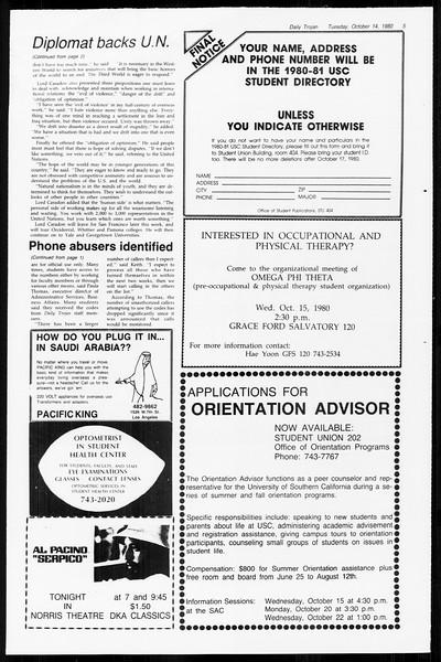 Daily Trojan, Vol. 89, No. 21, October 14, 1980