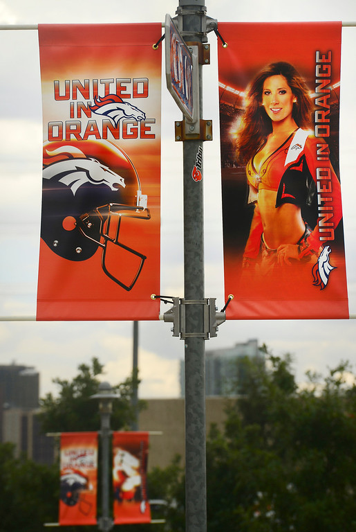 . Broncos banners hang from street poles near Sports Authority Field at Mile High in Denver on Tuesday September 4, 2013. Photo by Helen H. Richardson/The Denver Post