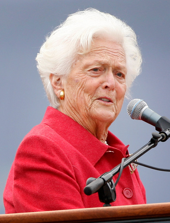 . Former first lady Barbara Bush speaks at a dedication ceremony for the George and Barbara Bush Center at the University of New England, Friday, Oct. 3, 2008, in Biddeford, Maine. The Center includes a cafe, outdoor terraces and areas for students to study and socialize. The Bush Legacy Library will house material anchoring the Bush legacy in Maine, including memorabilia on loan from the George H.W. Bush Presidential Library at Texas A & M University. Particular attention will be given to the family\'s New England heritage and to George and Barbara Bush\'s affinity for Maine. (AP Photo/Robert F. Bukaty)