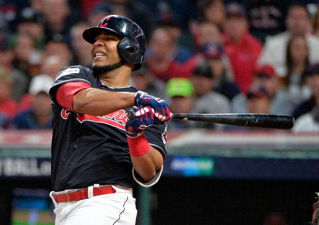 . Cleveland Indians\' Edwin Encarnacion strikes out against New York Yankees starting pitcher CC Sabathia during the second inning of Game 5 of a baseball American League Division Series, Wednesday, Oct. 11, 2017, in Cleveland. (AP Photo/Phil Long)