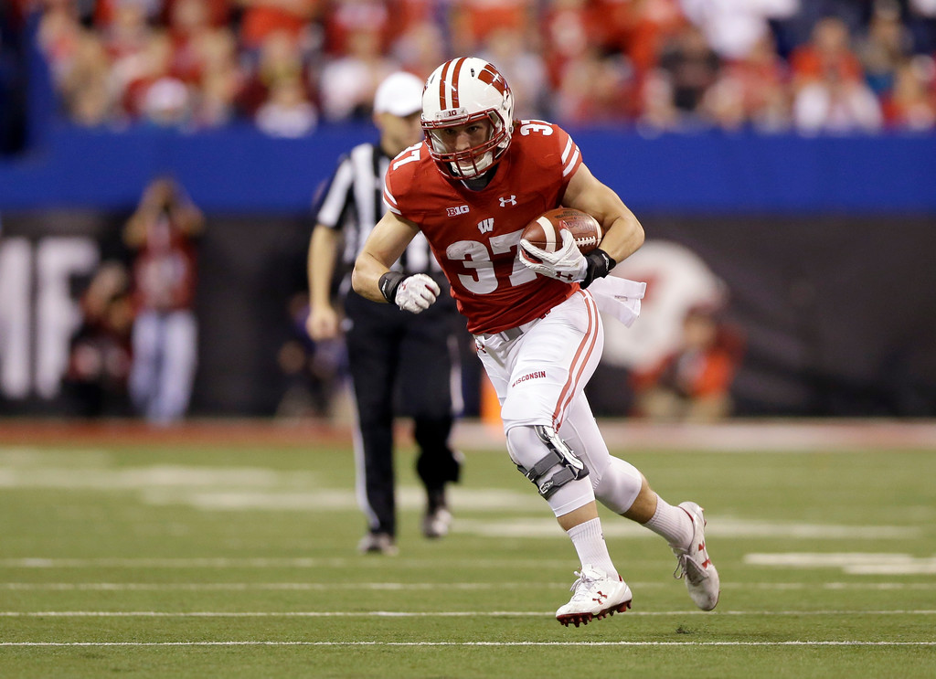 . Wisconsin running back Garrett Groshek runs with the ball during the second half of the Big Ten championship NCAA college football game against Ohio State , Saturday, Dec. 2, 2017, in Indianapolis. (AP Photo/AJ Mast)
