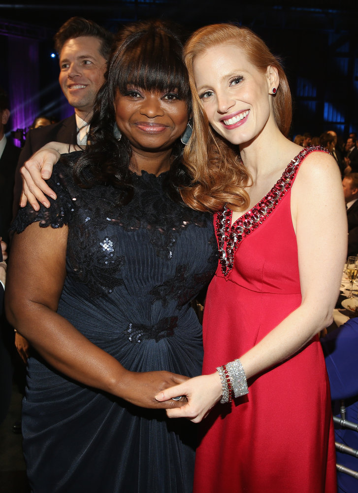 . (L-R) Actresses Octavia Spencer and Jessica Chastain attend the 18th Annual Critics\' Choice Movie Awards held at Barker Hangar on January 10, 2013 in Santa Monica, California.  (Photo by Christopher Polk/Getty Images for BFCA)