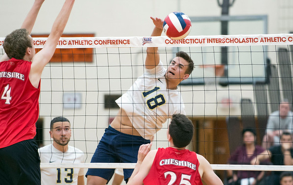 06/06/19 Wesley Bunnell | Staff #1 Newington defeated #2 Cheshire in the boys volleyball Class M championship game at Shelton High School on Thursday night. Teddy Fravel (18)