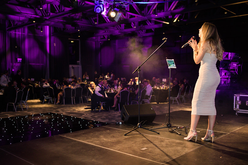 Photography of live singer at charity ball