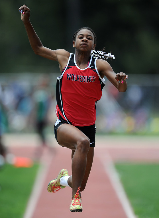 . Harvard Wetlake\'s Courtney Corrin wins the long jump during the CIF-SS track & Field championship finals in Hilmer Stadium on the campus of Mt. San Antonio College on Saturday, May 18, 2013 in Walnut, Calif.  (Keith Birmingham Pasadena Star-News)