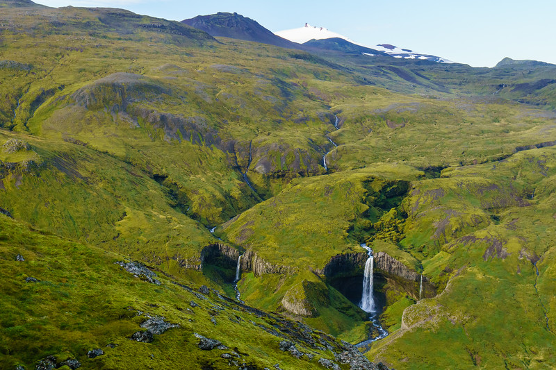 An unmarked waterfall seated on the east side of Mt. Snaefellsjoekull.
