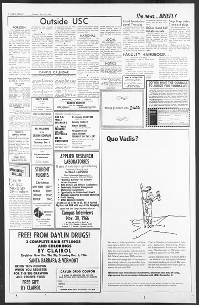 Daily Trojan, Vol. 58, No. 47, November 29, 1966