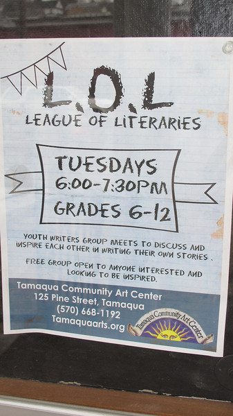 League of Literaries Showcase, LOL, Community Arts Center, Tamaqua (3-23-2014)