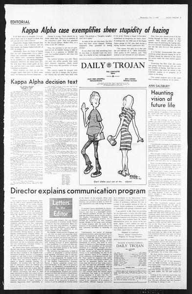 Daily Trojan, Vol. 59, No. 32, November 01, 1967