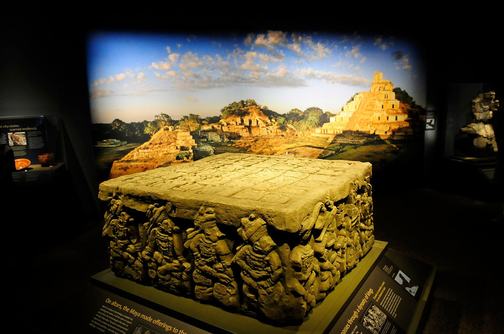 ". Replica of Altar Q, from the Late Classic Period, A.D. 776,  at Copan, Honduras, on display as part of ""Maya: Hidden Worlds Revealed\"". (Pioneer Press: Scott Takushi)"