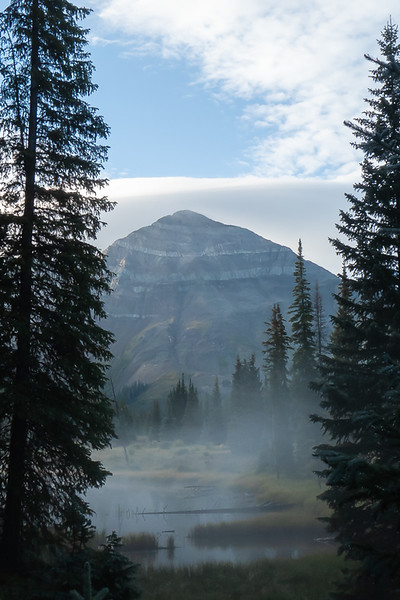 Hesperus Mountain with Mist coming off lake