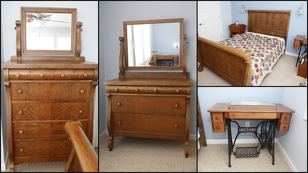 Three (3) piece Antique Bedroom set plus Singer Machine optional