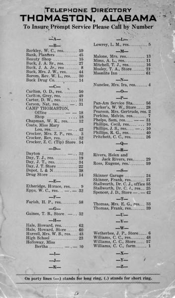 Thomaston, Alabama telephone directory circa 1950s