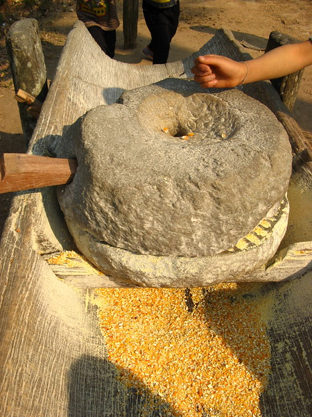 Grinding corn at Doi Pui