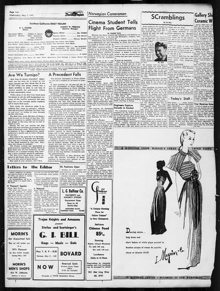 Daily Trojan, Vol. 38, No. 129, May 07, 1947