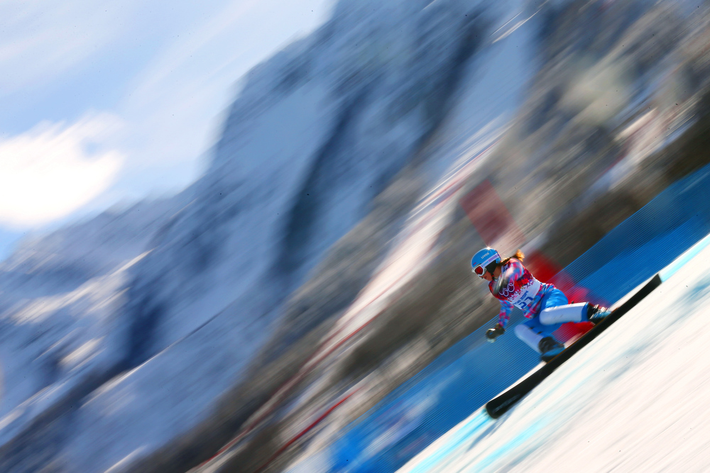 . Alena Zavarzina of Russia competes in the Snowboard Women\'s Parallel Giant Slalom Semifinals on day twelve of the 2014 Winter Olympics at Rosa Khutor Extreme Park on February 19, 2014 in Sochi, Russia.  (Photo by Mike Ehrmann/Getty Images)