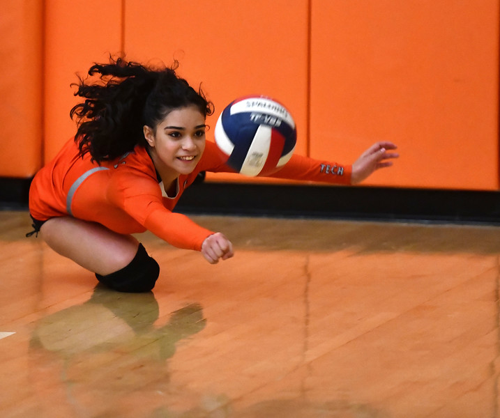 10/18/2019 Mike Orazzi | Staff Goodwin Tech's Nathalie DeLarosa (3) during Friday night's girls volleyball match with Terryville in Terryville.