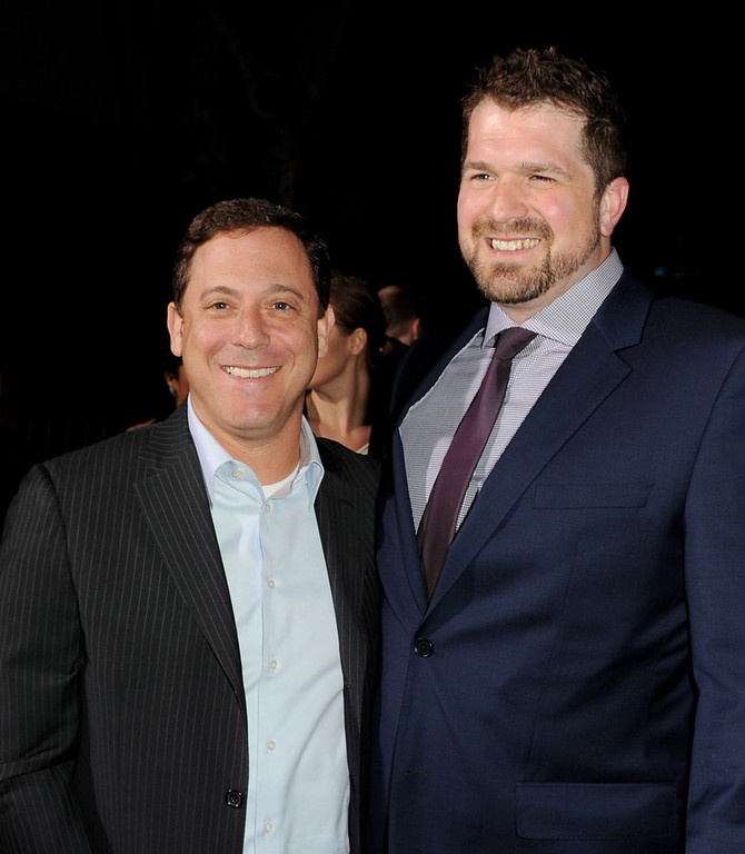 ". Adam Fogelson, Chairman, Universal Pictures (L) and director Seth Gordon arrive at the premiere of Universal Pictures\' ""Identity Theft\"" at the Village Theatre on February 4, 2013 in Los Angeles, California.  (Photo by Kevin Winter/Getty Images)"