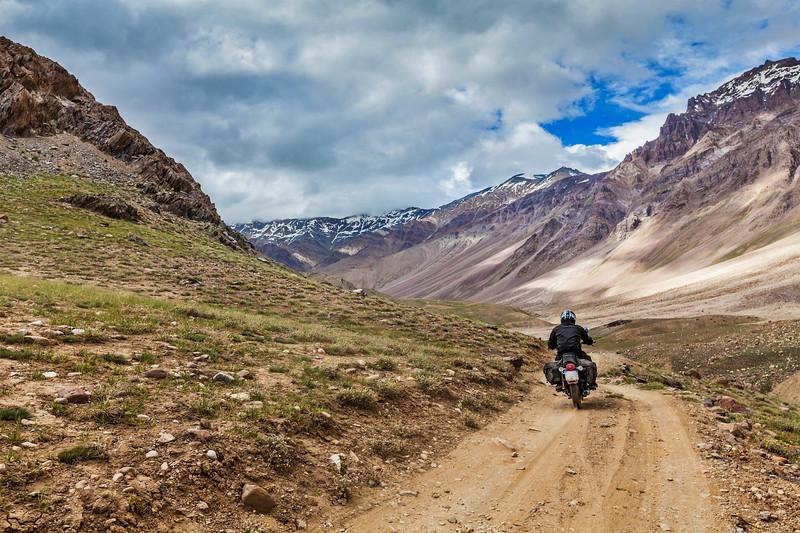Bike on mountain road in Himalayas