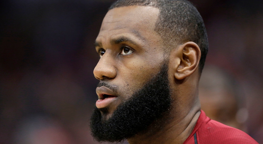 . Cleveland Cavaliers\' LeBron James looks toward the basket before an NBA basketball game against the Chicago Bulls Monday, Dec. 4, 2017, in Chicago. (AP Photo/Charles Rex Arbogast)