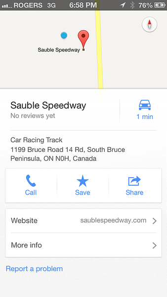 At least I had an address for the speedway's location.