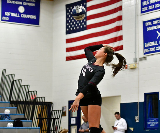 11/8/2018 Mike Orazzi | Staff Farmington High School's Holly Picchioni (10) during the Class L Second Round State Girls Volleyball Tournament in Bristol Thursday night.
