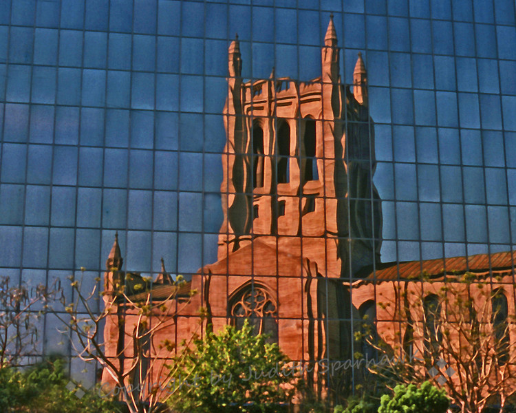 Reflections of the Past ~ First Congregational Church of Los Angeles, reflected in the Superior Court Building
