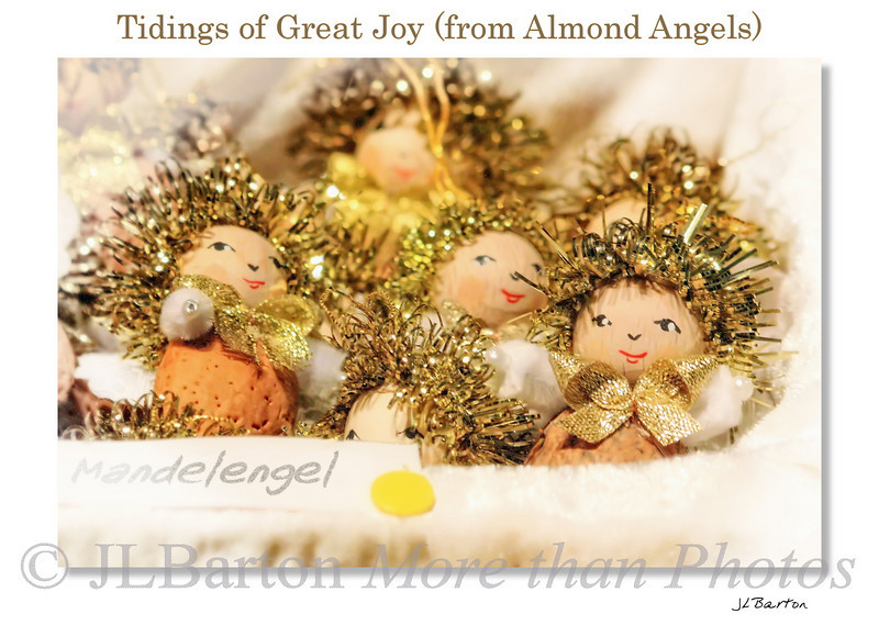 Christmas Angels as tree ornaments, made from almond kernals on sale at an Advent market in Lower Austria