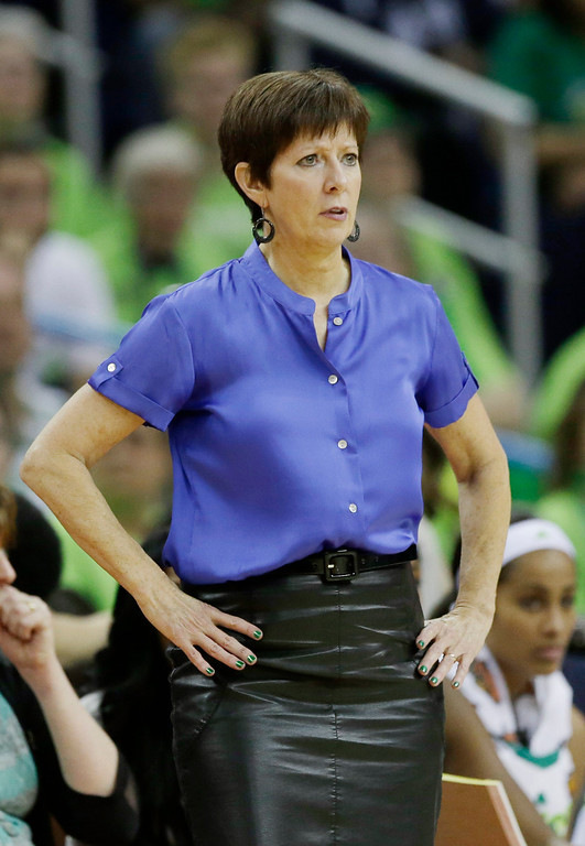 . Notre Dame head coach Muffet McGraw watches action against Notre Dame in the first half of the women\'s NCAA Final Four college basketball tournament semifinal against Connecticut, Sunday, April 7, 2013, in New Orleans. (AP Photo/Dave Martin)