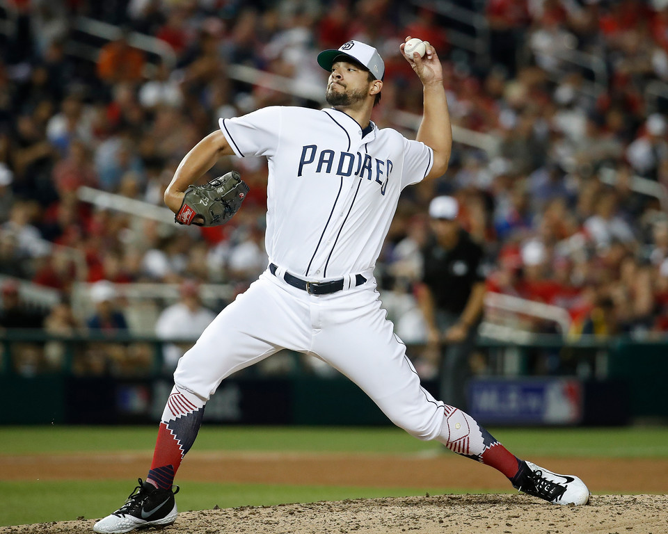 . San Diego Padres pitcher Brad Hand (52) throws in the eighth inning during the Major League Baseball All-star Game, Tuesday, July 17, 2018 in Washington. (AP Photo/Alex Brandon)