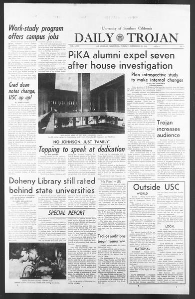 Daily Trojan, Vol. 58, No. 7, September 27, 1966