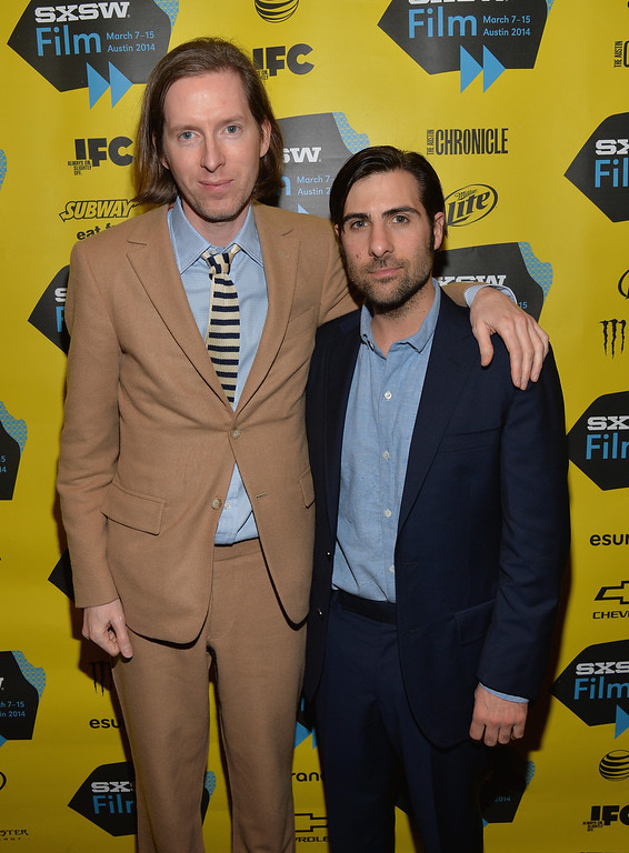 """. Director Wes Anderson (L) and actor Jason Schwartzman attend the screening of \""""Grand Budapest Hotel\"""" during the 2014 SXSW Music, Film + Interactive Festival at the Paramount Theatre on March 10, 2014 in Austin, Texas.  (Photo by Michael Buckner/Getty Images for SXSW)"""