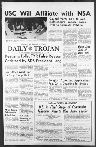Daily Trojan, Vol. 58, No. 69, February 13, 1967