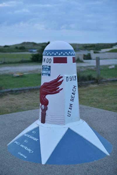 Monument at Utah Beach.  Mile Marker 00