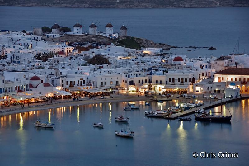 Mykonos | Greece The famous windmills of the Aegean sea island, at dusk
