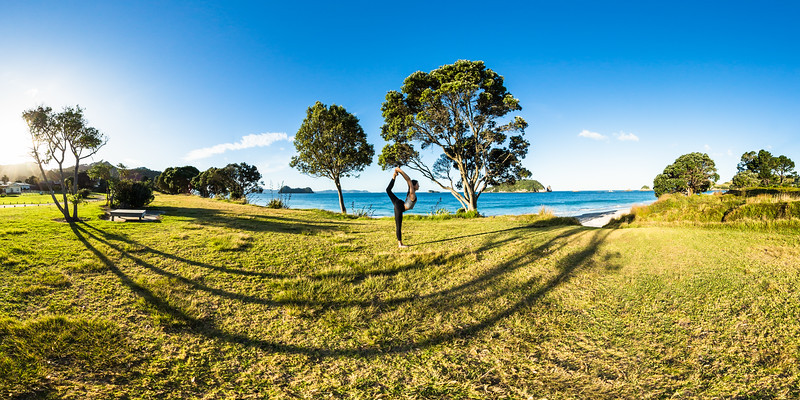 Yoga at Hahei Beach