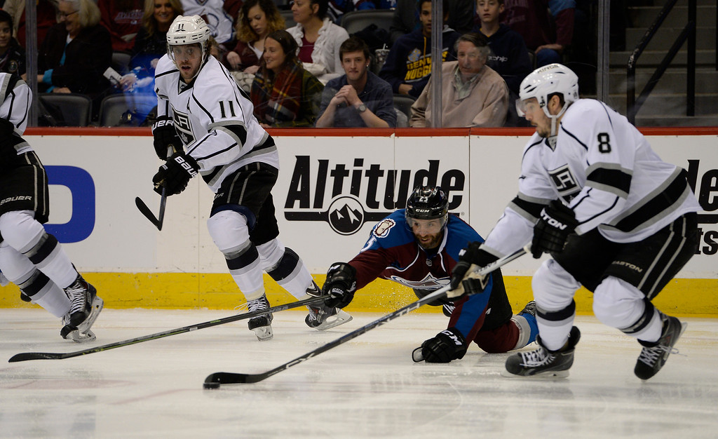 . DENVER, CO - FEBRUARY 18: Colorado Avalanche center Maxime Talbot (25) reaches out for the puck while falling to the ice as Los Angeles Kings defenseman Drew Doughty (8) moves in during the first period February 18, 2015 at Pepsi Center. (Photo By John Leyba/The Denver Post)
