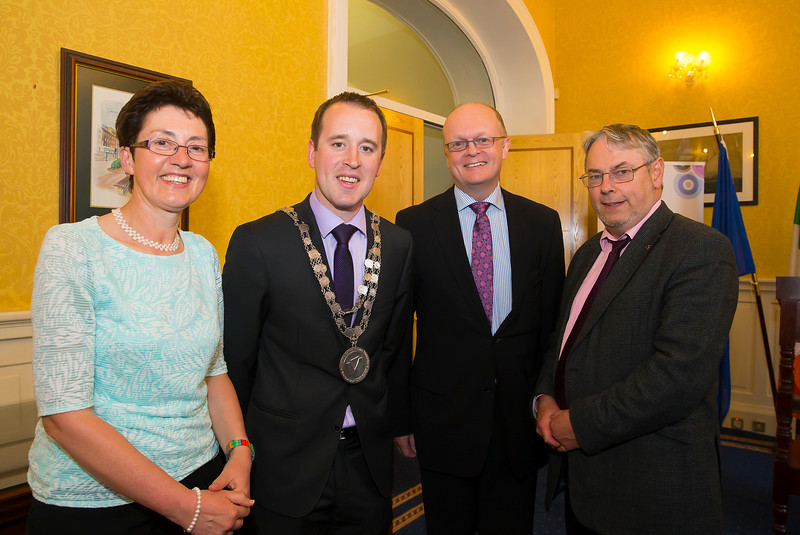 18/05/2016. Irish Accounting & Finance Accociation Annual Conference at WIT (Waterford Institute of Technology). Pictured at The Mayor's reception are Dr Sheila O'Donohoe WIT, Mayor Cllr. John Cummins, Dr. Tom O'Toole Head of School of Business WIT and John Maher WIT. Picture: Patrick Browne