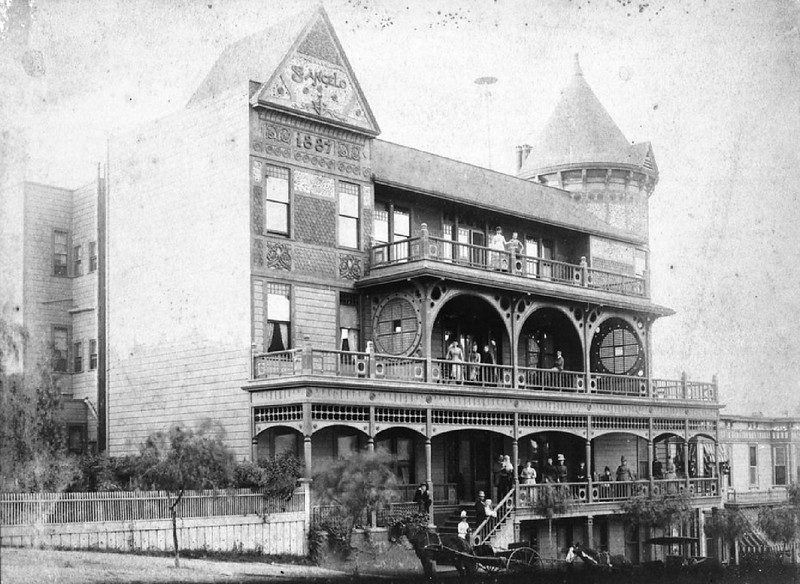 Exterior view of the Hotel St. Angelo on the corner of Grand Avenue and Temple Street, ca.1895