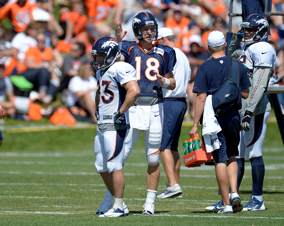 . Denver Broncos QB Peyton Manning (18) talks with TE Julius Thomas (80) WR Wes Welker (83) catches his breathe during training camp August 5, 2013 at Dove Valley. (Photo By John Leyba/The Denver Post)