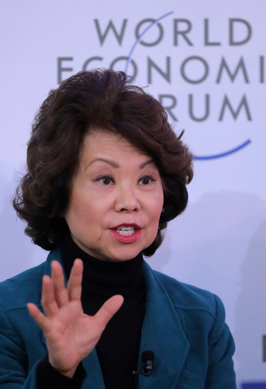 . U.S. Secretary of Transportation Elaine L. Chao speaks during the annual meeting of the World Economic Forum in Davos, Switzerland, Thursday, Jan. 25, 2018. (AP Photo/Markus Schreiber)