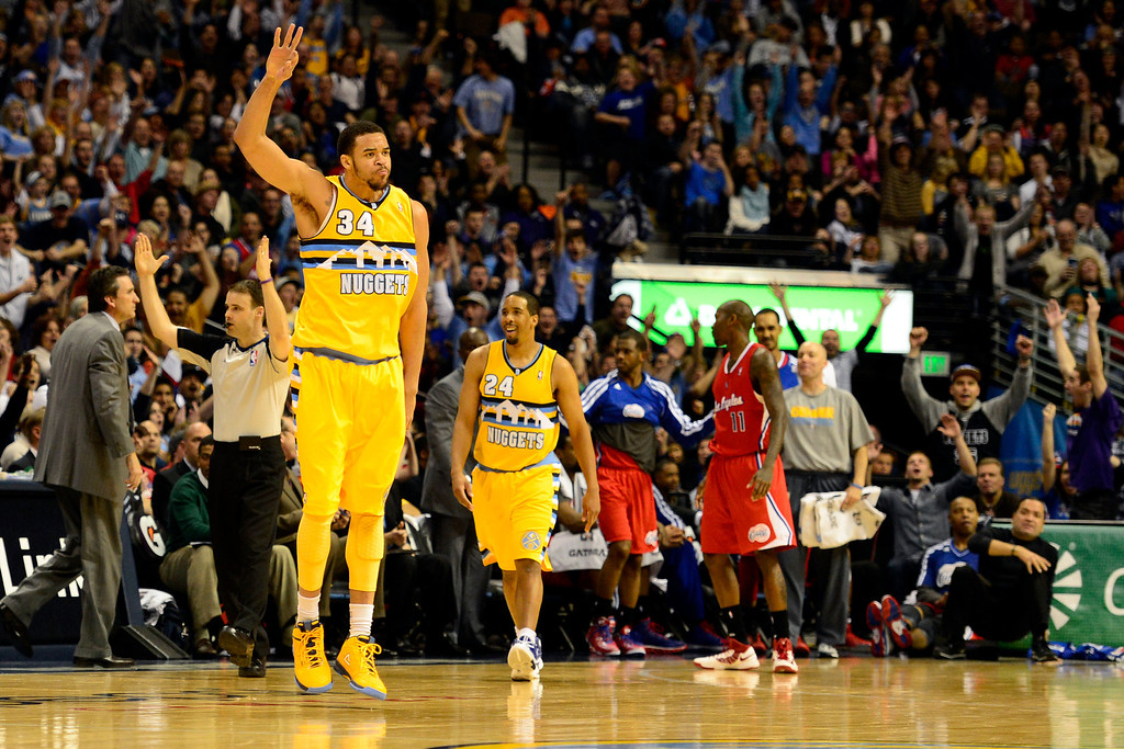 . Denver Nuggets center JaVale McGee (34) hits a three pointer to end the third against the Los Angeles Clippers during the second half of the Nugget\'s 92-78 win at the Pepsi Center on Tuesday, January 1, 2013. AAron Ontiveroz, The Denver Post