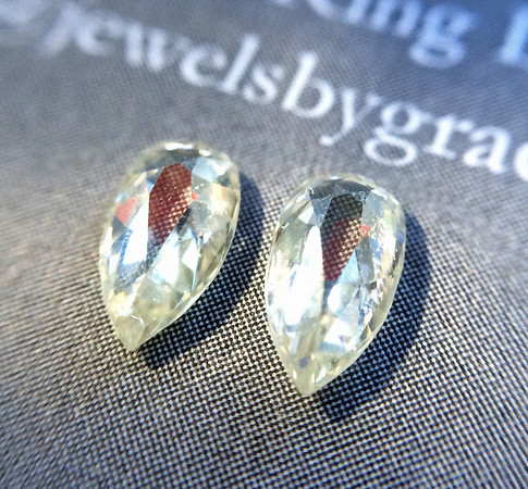 .57 tcw Pear Rose Cut Diamond Pair