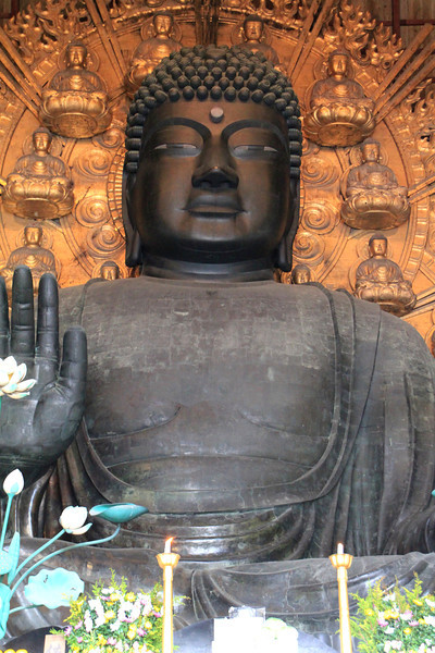 Daibutsu (Big Buddha) is the largest of the statues in the Todaiji Temple