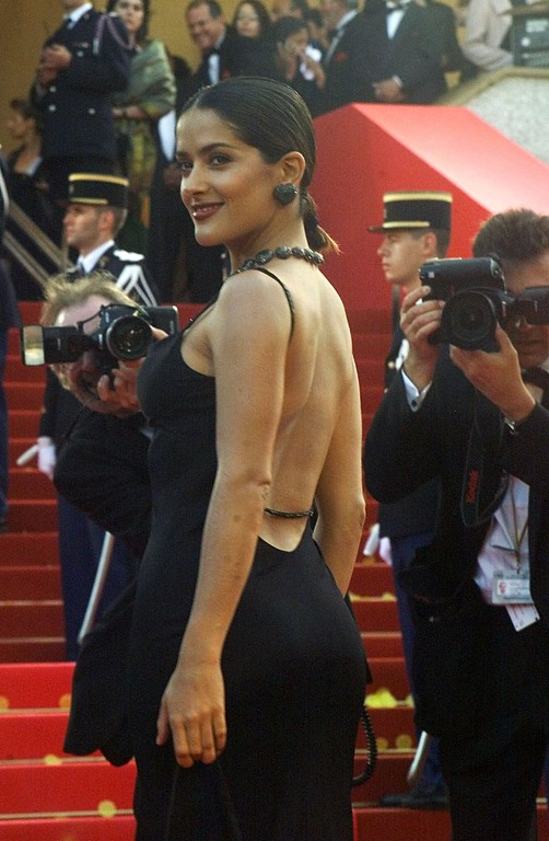 . Mexican actress Salma Hayek arrives for the screening of the film Todo Sobre Mi Madre, in competition, at the 52nd Cannes Film Festival in Cannes, France, Saturday May 15, 1999.(AP PHOTO/Michel Euler)